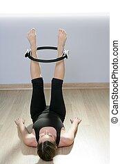magic pilates ring woman aerobics sport gym exercises on...