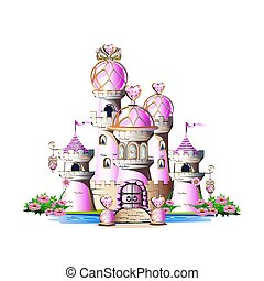 magic pink castle - Pink princess castle with magic crystals...