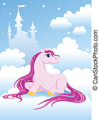 magic pink pony on a cloud near the Castle