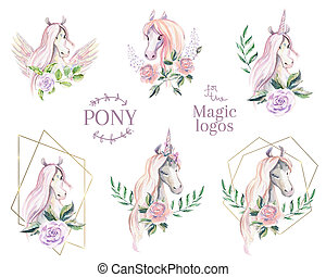 Magic pony logo. Collection of watercolor logotype with ...