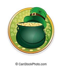 Magic pot of gold and leprechaun hat. Celebrating St. Patricks Day symbols