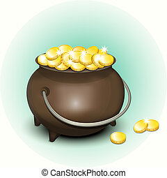 Magic Pot with Gold Coins for Patricks Day. Vector...