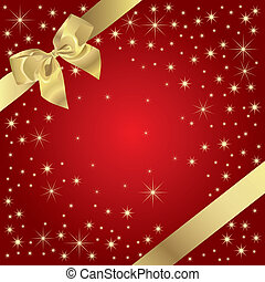 Magic Present - Golden Bow On Magic Background