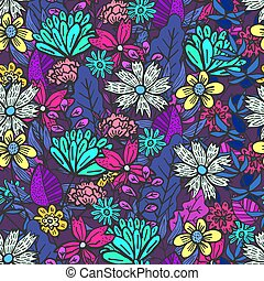 Magic purple floral pattern with mess of flowers