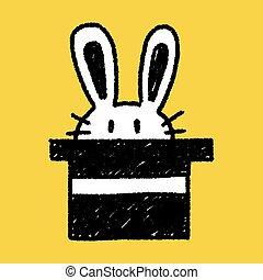 magic rabbit doodle drawing