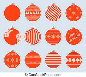 Magic, red christmas balls stickers isolated on gray background. High quality vector set of christmas baubles.
