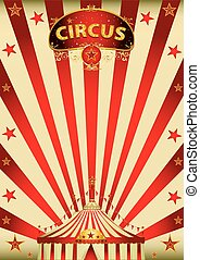 magic red paradise circus - A vintage circus poster with a...
