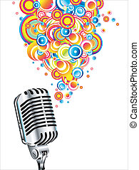 Magic retro microphone - A magic microphone singing colorful...