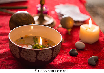 magic ritual - Esoteric atmosphere created with candles, ...