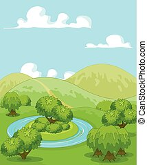 Magic Rural Landscape - Illustration of magic rural...