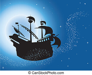 Magic sailing vessel silhouette