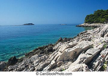 Magic sea landscape in Pritzba with dreamy colors, Croatia