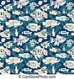 Magic Sea Life Vector Pattern