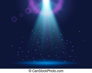 Magic shining background with lights. Blue luminous rays