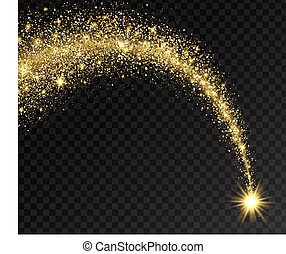Magic shining gold star with dust tail. Star dust trail with glitter sparkling particles on transparent background. Golden glittering space comet. Cosmic wave. Festive backdrop. Vector illustration