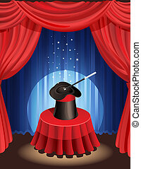 magic show - Vector illustration - magic hat and magic wand