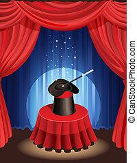 magic show - magic hat and magic wand