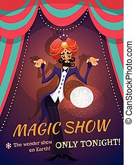 Magic Show Poster - Circus poster with magician sphere and...