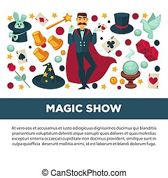Magic show promotional poster with magician in suit