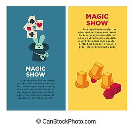 Magic show vertical posters with rabbit and equipment for tricks