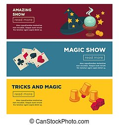 Magic show with amazing tricks Internet promotional posters