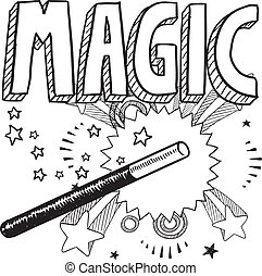Doodle style magic performer illustration in vector format. Includes text and magic wand