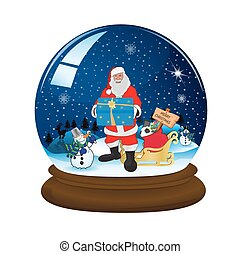 magic snow ball with stand and Santa, vector illustration