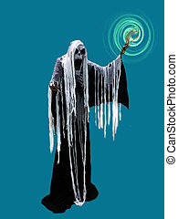 Magic Sorceress Witch skeleton with glowing hand