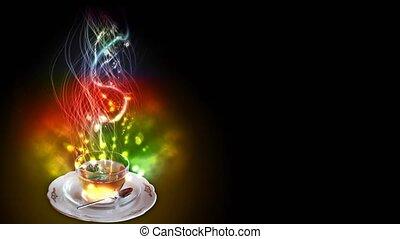 magic spell tea smoking - A cup of magic mint tea, ...
