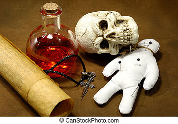 Magic Spells - Photo of Parchments, Skull and a Potion ...