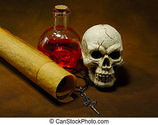 Magic Spells - Photo of Parchments, Skull and a Potion...