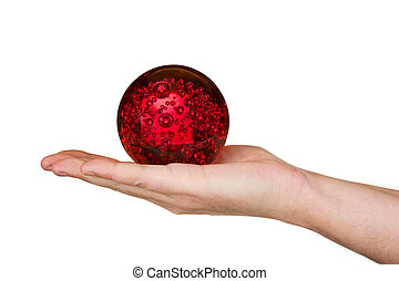 Magic sphere in hand, isolated on white background