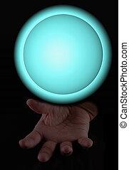 Magic sphere over hand