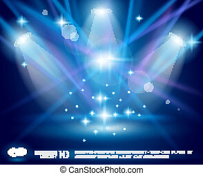 Magic Spotlights with Blue rays and glowing effect for...