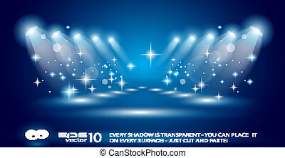 Magic Spotlights with Blue rays and glowing effect for ...