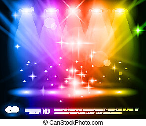 Magic Spotlights with Rainbow rays and glowing effect for...