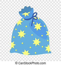 Magic star bag icon, flat style