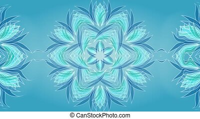 Magic star shape patterns in blue and green colors in tunnel motion, object on calming blue background , UHD video