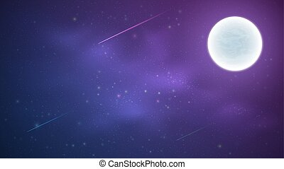 Magic Starry Sky with a luminous blue and purple milky way. Shooting stars. Full moon. Falling comets. Shining stars. Background for your design. Vector illustration