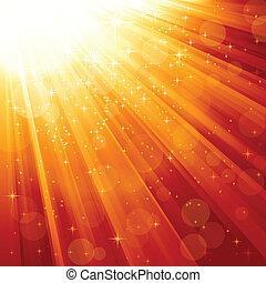 Magic stars descending on beams of light - Festive light ray...