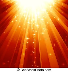 Magic stars descending on beams of light - Festive square...