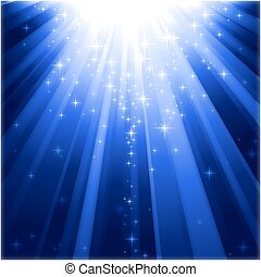Festive blue square abstract background with stars descending on rays of light.