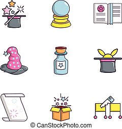 Magic stuff icons set, flat style