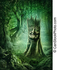 Magic stump with a face in the wood