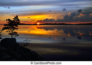 Magic sunset. Lake Pongoma, Northern Karelia, Russia