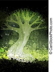 Magic surreal tree in the night. Grunge vector illustration. Suits for poster or background