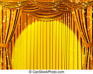 Magic theater - Theatrical curtain of yellow color