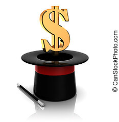 magic top hat dollar sign - 3d illustration of magic hat...