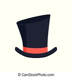 Magic top hat, gentleman hat cylinder with red ribbon, masquerade decor, carnival headdress element cartoon vector Illustration on a white background
