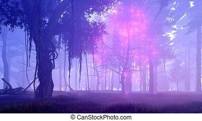 Magic tree in misty night forest 4K